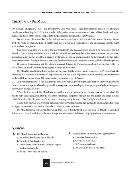 reading comprehension worksheets 8th grade reading