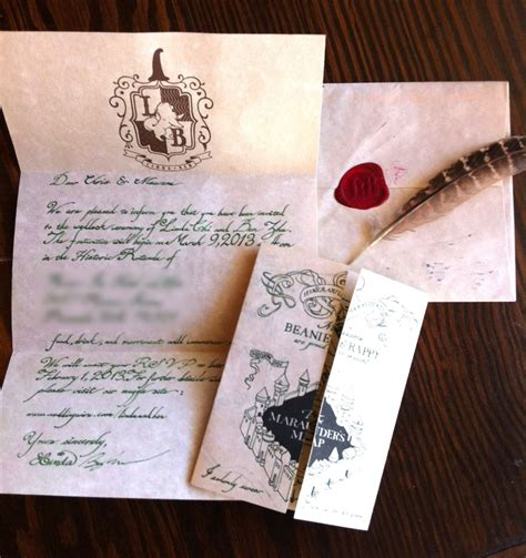 harry potter letter  hogwarts wedding invitation