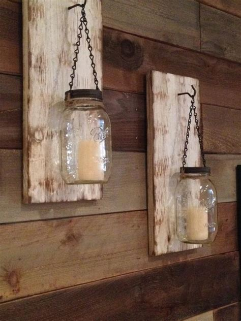 White Candle Sconces - items similar to rustic jar wall sconce rustic white