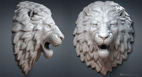 Lion Head digital sculpture 3d model. Wall mount, jewelry