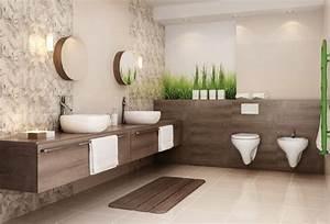 salle de bain beige idees de carrelage meubles et deco With carrelage salle de bain avec motif