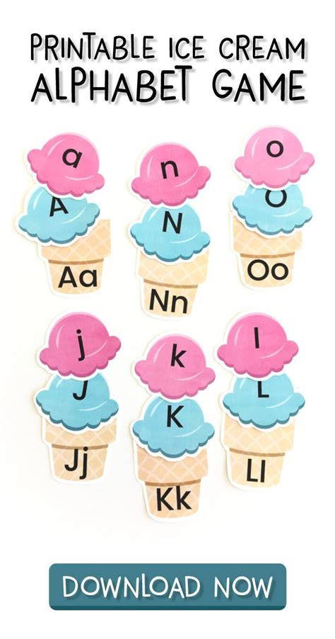 ice cream letter recognition game  preschoolers