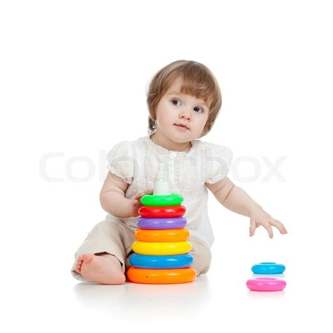 Adorable Baby Playing With Color Toy  Stock Photo Colourbox