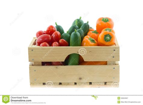 wooden crate  colorful vegetables stock image image