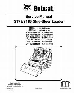 Bobcat S175  S185 Skid Steer Loader Pdf Service Manual