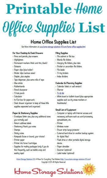 office supply list free printable home office supplies list
