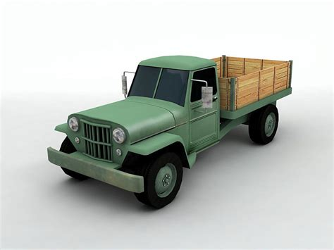 model antique jeep pickup truck cgtrader