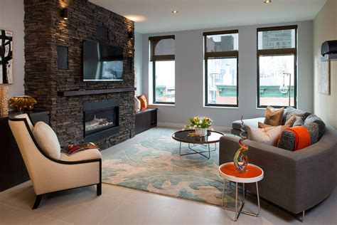 Teal Green Living Room Ideas by Stacked Stone Fireplace Surround Living Room Contemporary