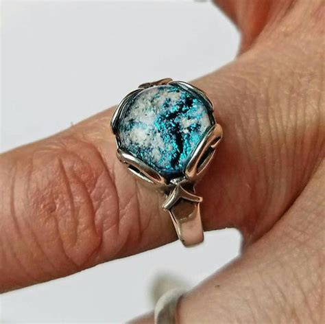 cremation jewelry ring sterling silver ashes infused glass