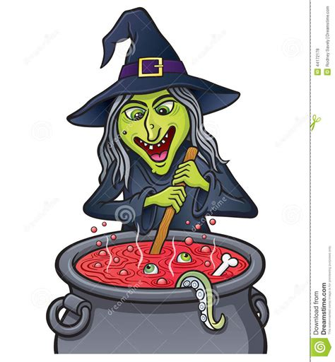 witch stirring bubbling cauldron stock illustration