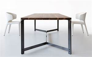 contemporary dining table in wood and metal db11 by With metal dining chairs wood table