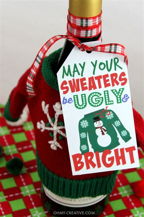 ugly sweater gift tag printable oh my creative