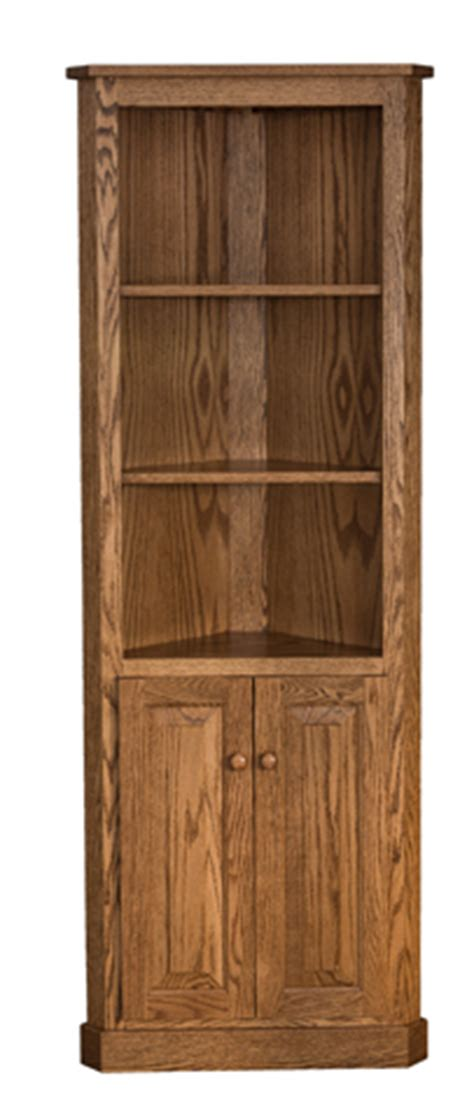 Corner Bookcases With Doors by Traditional Corner Bookcase With Doors Amish Furniture