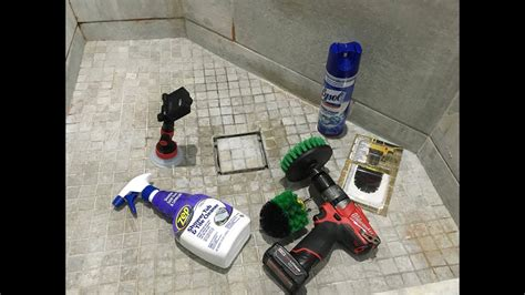 cleaning bathroom shower tile tub   power drill