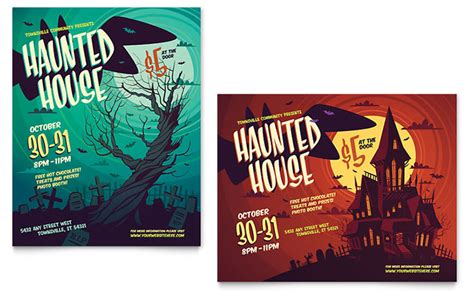 haunted house poster template design