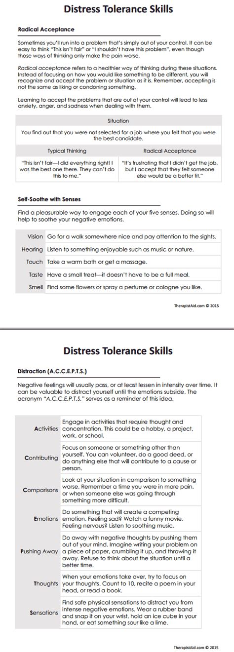 Dbt Distress Tolerance Skills (worksheet  Work  Behavioral Therapy, Dbt, Counseling