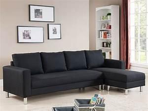 Canapé D Angle Tissu Noir : canap d 39 angle tissu r versible 5 places vigo noir 68228 ~ Teatrodelosmanantiales.com Idées de Décoration