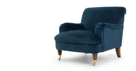 made about the house accent chair midnight blue velvet
