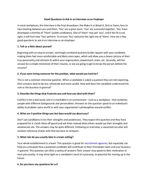 Good Questions To Ask In An Interview As An Employer