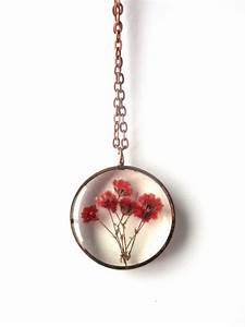 Red Baby's Breath Resin Pendant Necklace Real flowers in