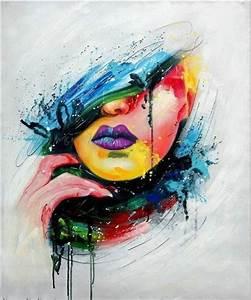 Tableau Peinture Sur Toile : tableau moderne visage ~ Teatrodelosmanantiales.com Idées de Décoration