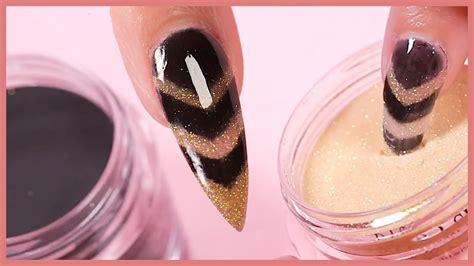 easy dip powder nail art tutorial gold black chevron