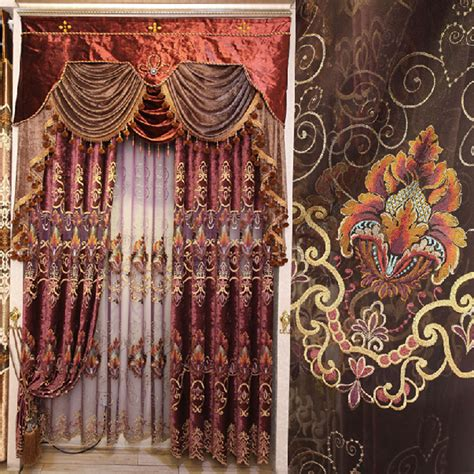 high quality chenille fabric living room curtain
