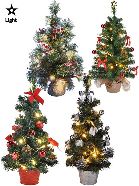 Mini Pre Lit Christmas Tree 75cm 60cm 45cm 2ft Decoration