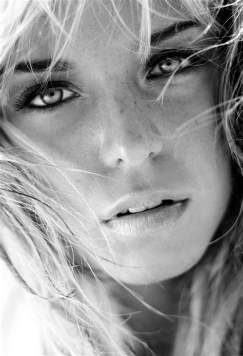 beautiful face shot black  white portrait   youthful