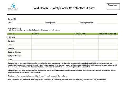 monthly safety meeting minutes templates at allbusinesstemplates
