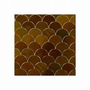 Brown Moroccan bathroom tiles - Fish scales mosaic