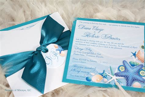 Beach Wedding Invitations Sea Shells And Starfish