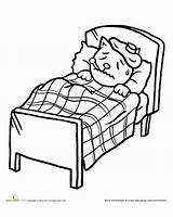 Sick Bed Coloring Worksheet Preschool Kitten Child Education Template Fever Tired Feel Worksheets Credit Larger Stay sketch template