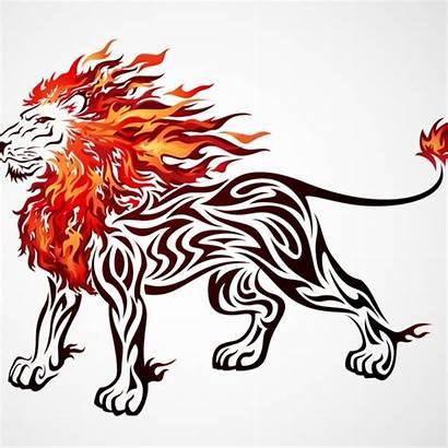 Lion Vector Clipart Clip Fire Silhouette Mane