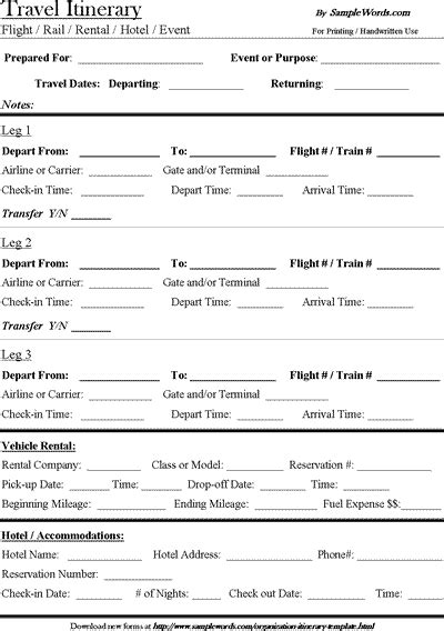 travel itinerary template  microsoft word document