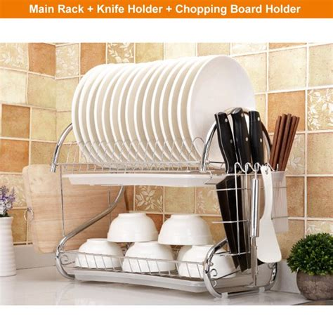 stainless steel  layers tier dish drying rack plate drainer cup cutlery holder dish rack drip