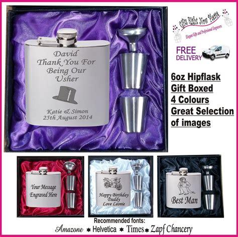 engraved hip flask  man usher groom gift boxed ebay