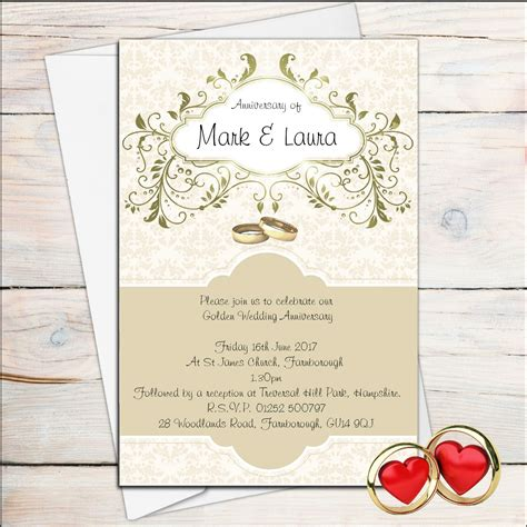 golden wedding anniversary invitations 10 personalised golden wedding anniversary invitations n13
