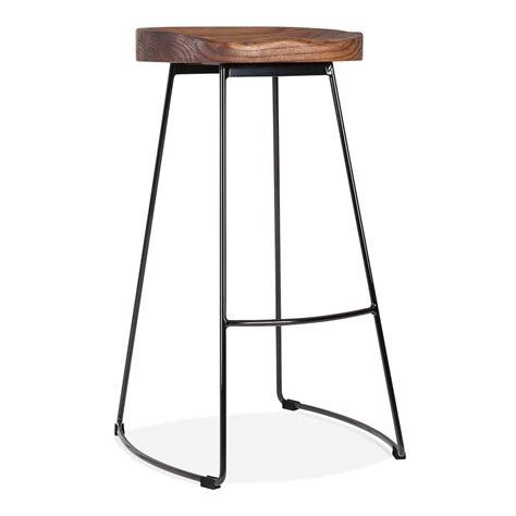 industrial bar table and chairs metal bar stool with solid wood seat black 75cm