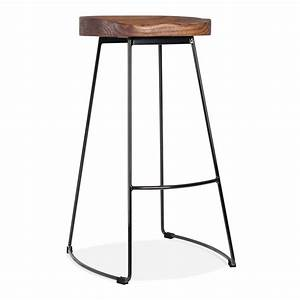 Victoria Metal Bar Stool with Solid Wood Seat Black 75cm