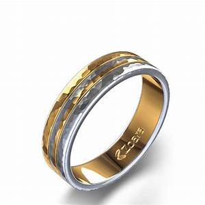 Two Tone Hammered Wedding Band In 14k White Yellow Gold