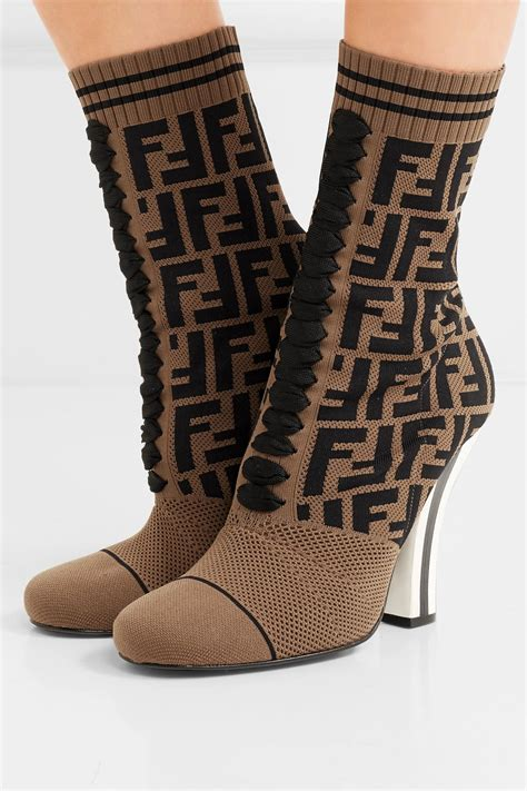 Fendi Logo-jacquard Stretch-knit And Mesh Sock Boots in ...