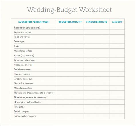 sample wedding budget  documents  word excel