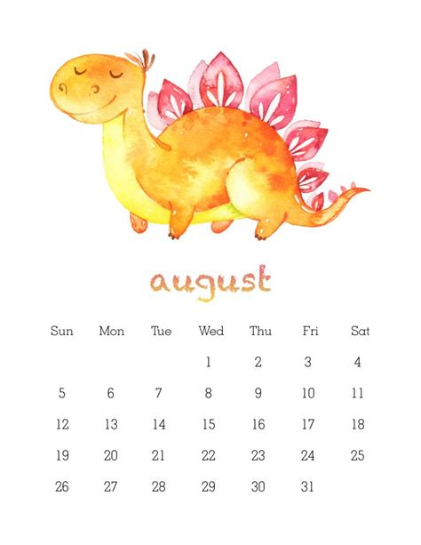 printable  watercolor dinosaur calendar