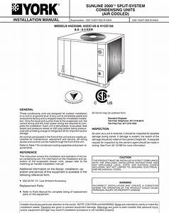 York Air Conditioner H1ce150 Users Manual Y Im Sunline