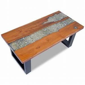 Table Basse Resine : vidaxl coffee table teak resin 100x50 cm ~ Teatrodelosmanantiales.com Idées de Décoration