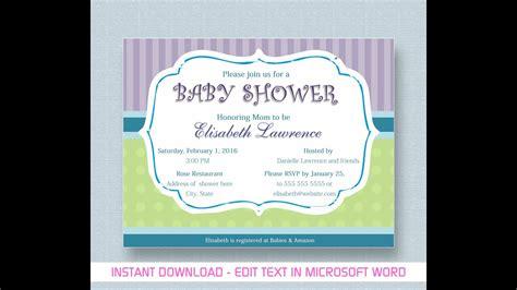baby shower invitation  microsoft word youtube