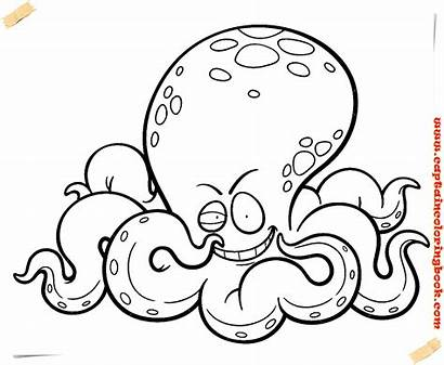 Octopus Coloring Cartoon Printable Drawing Clipart Face