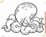 Octopus Coloring Cartoon Printable Drawing Clipart Face Clip Fish Ocean Sea sketch template