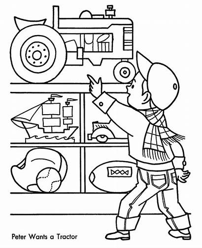 Coloring Tractor Einkaufen Shopping Toy Clipart Printable